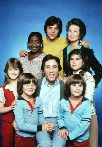 OUT OF THE BLUE, top center: Clark Brandon, clockwise from top center: Dixie Carter, Olivia Barash, Shane Keller, Jimmy Brogan, Jason Keller, Tammy Lauren, Hannah Dean, 1979.