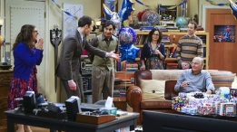 """The Celebration Experimentation"" -- After more than nine years together, the gang finally celebrates Sheldon's birthday, surprising him with a special guest, on the 200th episode of THE BIG BANG THEORY, Thursday, Feb. 25 (8:00-8:31 PM, ET/PT) on the CBS Television Network. Pictured left to right: Mayim Bialik, Jim Parsons, Kunal Nayyar, Sara Gilbert, Kevin Sussman and Adam West Photo: Monty Brinton/CBS ©2016 CBS Broadcasting, Inc. All Rights Reserved"
