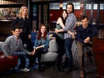 WHITNEY -- Season:1 -- Pictured: (l-r) Maulik Pancholy as Neal, Rhea Seehorn as Roxanne, Zoe Lister-Jones as Lily, Whitney Cummings as Whitney Cummings, Chris D'Elia as Alex Miller, Dan O'Brien as Mark -- Photo by: Mitchell Haaseth/NBC
