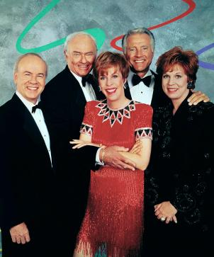The Carol Burnett Show - A Reunion, the 1993 CBS television special featuring (from left) Tim Conway, Harvey Korman, Carol Burnett, Lyle Waggoner and Vicki Lawrence. Copyright © 1993 CBS Broadcasting Inc. All Rights Reserved. Credit: CBS Photo Archive.
