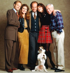 FRASIER -- Season 2 -- Pictured: (front) Moose as Eddie, (back, l-r) David Hyde Pierce as Dr. Niles Crane, Peri Gilpin as Roz Doyle, Kelsey Grammer as Dr. Frasier Crane, Jane Leeves as Daphne Moon, John Mahoney as Martin Crane -- Photo by: Andrew Eccles/NBCU Photo Bank .