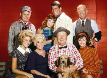 PETTICOAT JUNCTION, (top, l to r): Rufe Davis, Linda Kaye (aka Linda Kaye Henning), Mike Minor, Frank Cady, (bottom): Meredith MacRae, Bea Benaderet, Edgar Buchanan, Lori Saunders, 1963-70
