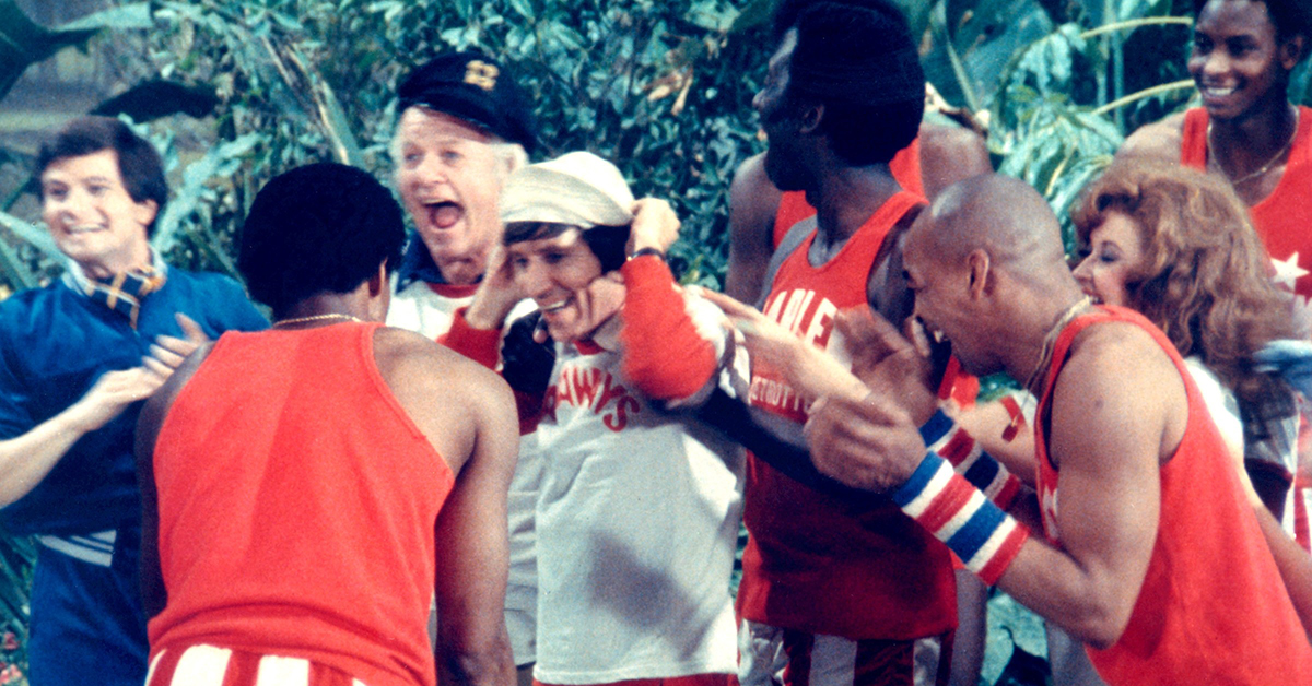 THE HARLEM GLOBETROTTERS ON GILLIGAN'S ISLAND, Alan Hale, Jr., Bob Denver, Curly Neal, 1981. (c) Uni